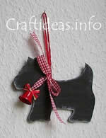 Scottie dog wooden Christmas tree ornament