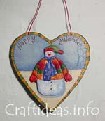 Christmas wooden heart ornament