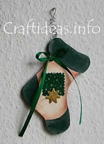Christmas wooden stocking ornament