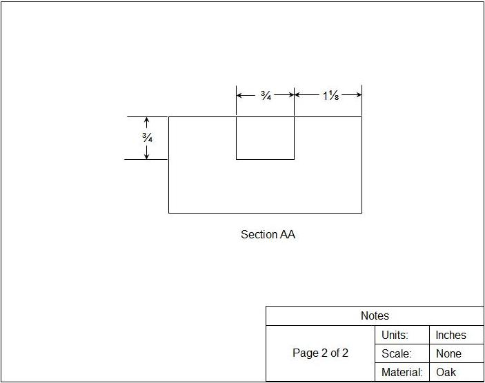 woodworking plans to make the piece of wood cut view of section AA