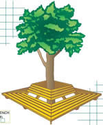 wraparound tree benches plans with back
